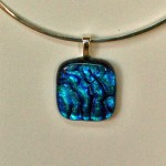 Blue ripple with clear on top pendant