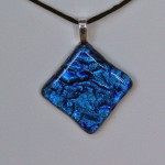 Blue ripple with clear on top pendant diamond shape