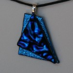 pendant blue dicro over blue crinkle etsy