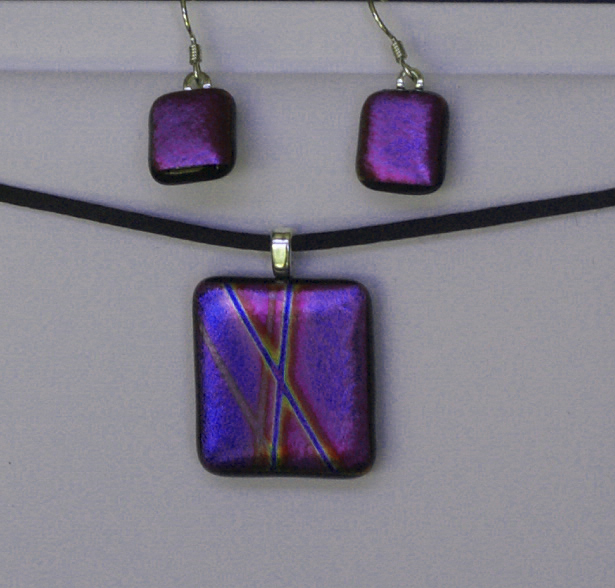 Dichroic glass jewelry samples melissa mccann glass art pendant earrings geometric purple aloadofball Gallery